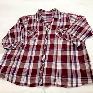 Sonoma life + style Plaid Snap Roll Cuff Shirt 2X